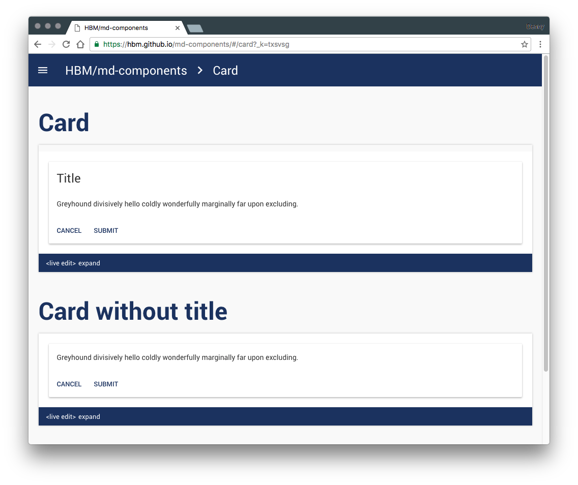 mdc - material card design example