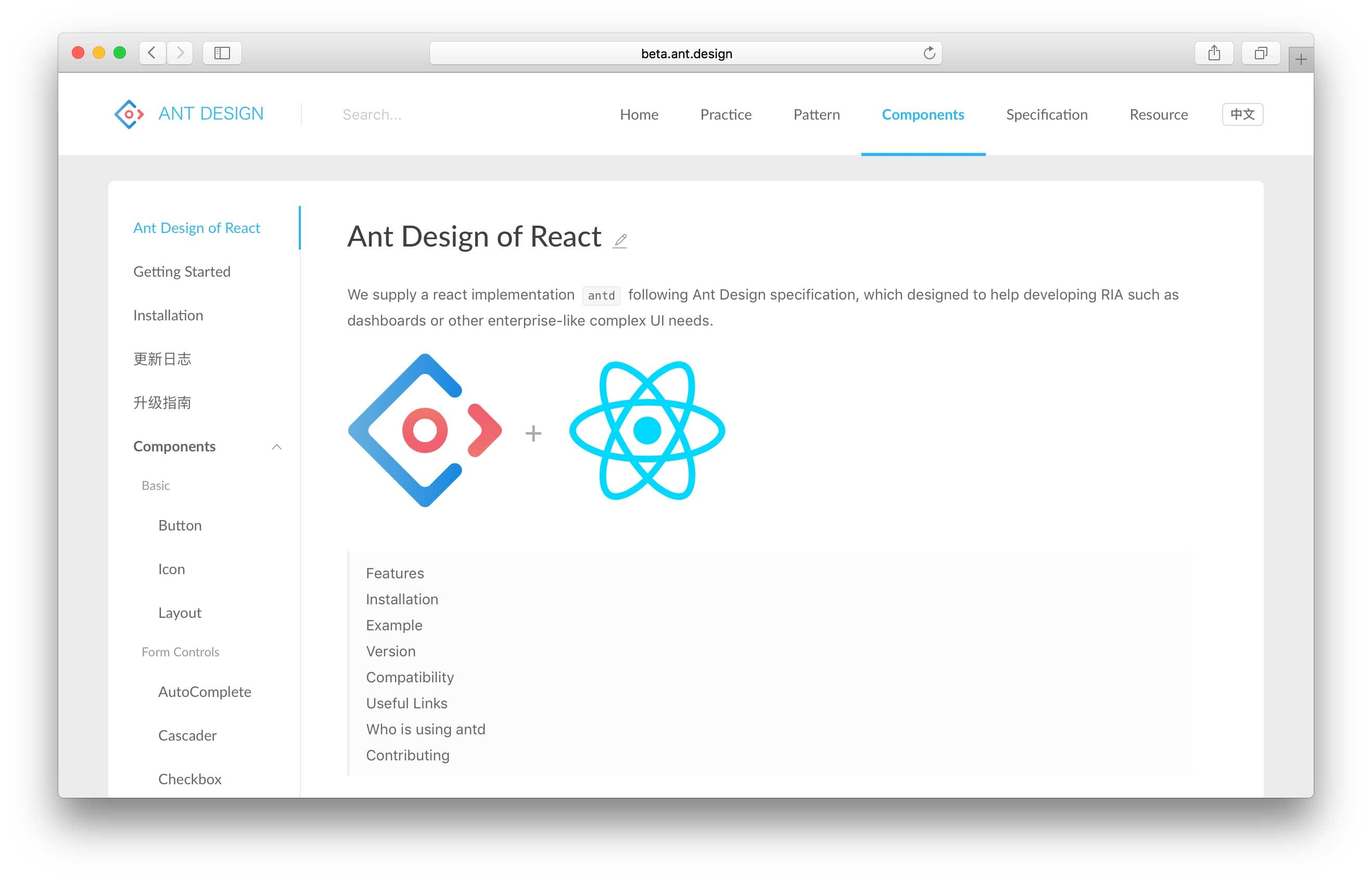 Ant Design of React