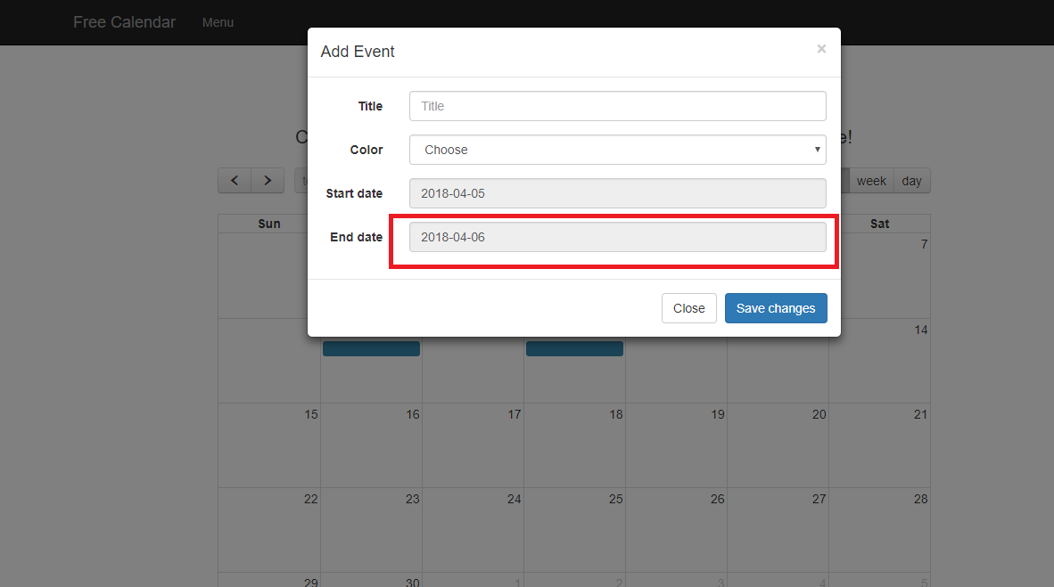 How can I set event start date and end date in an events