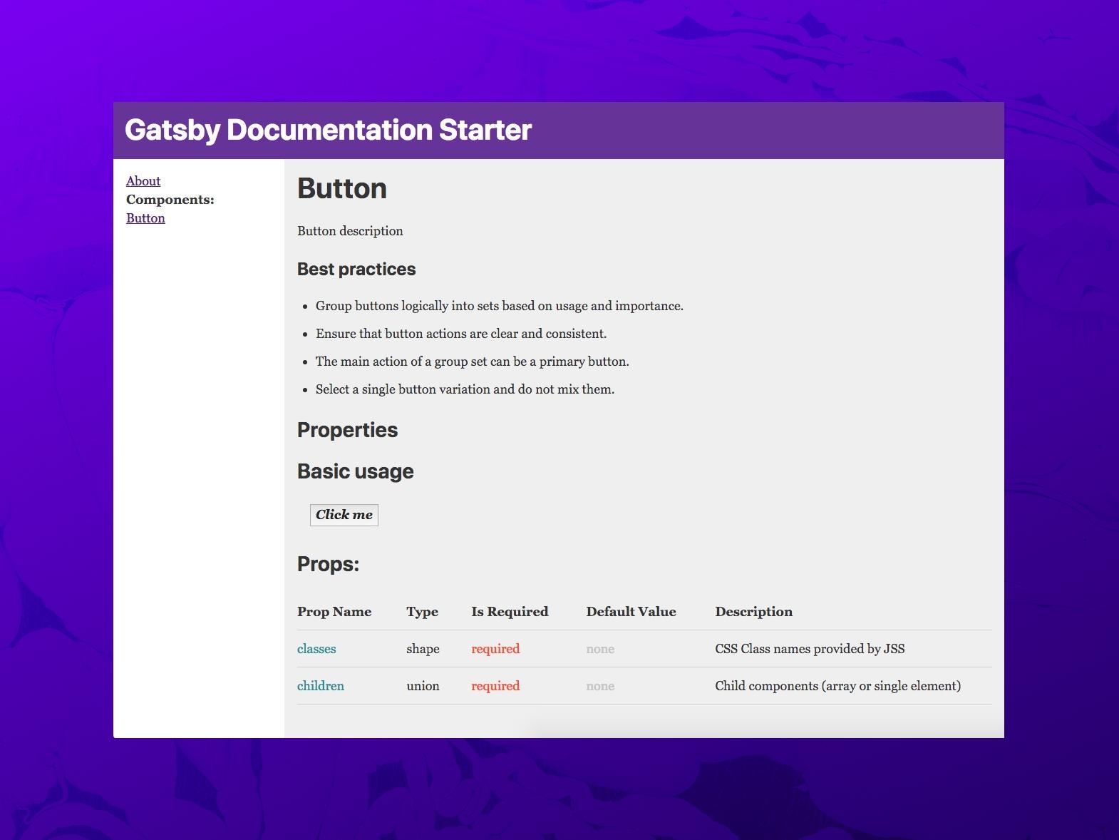 Screenshot of the demo website