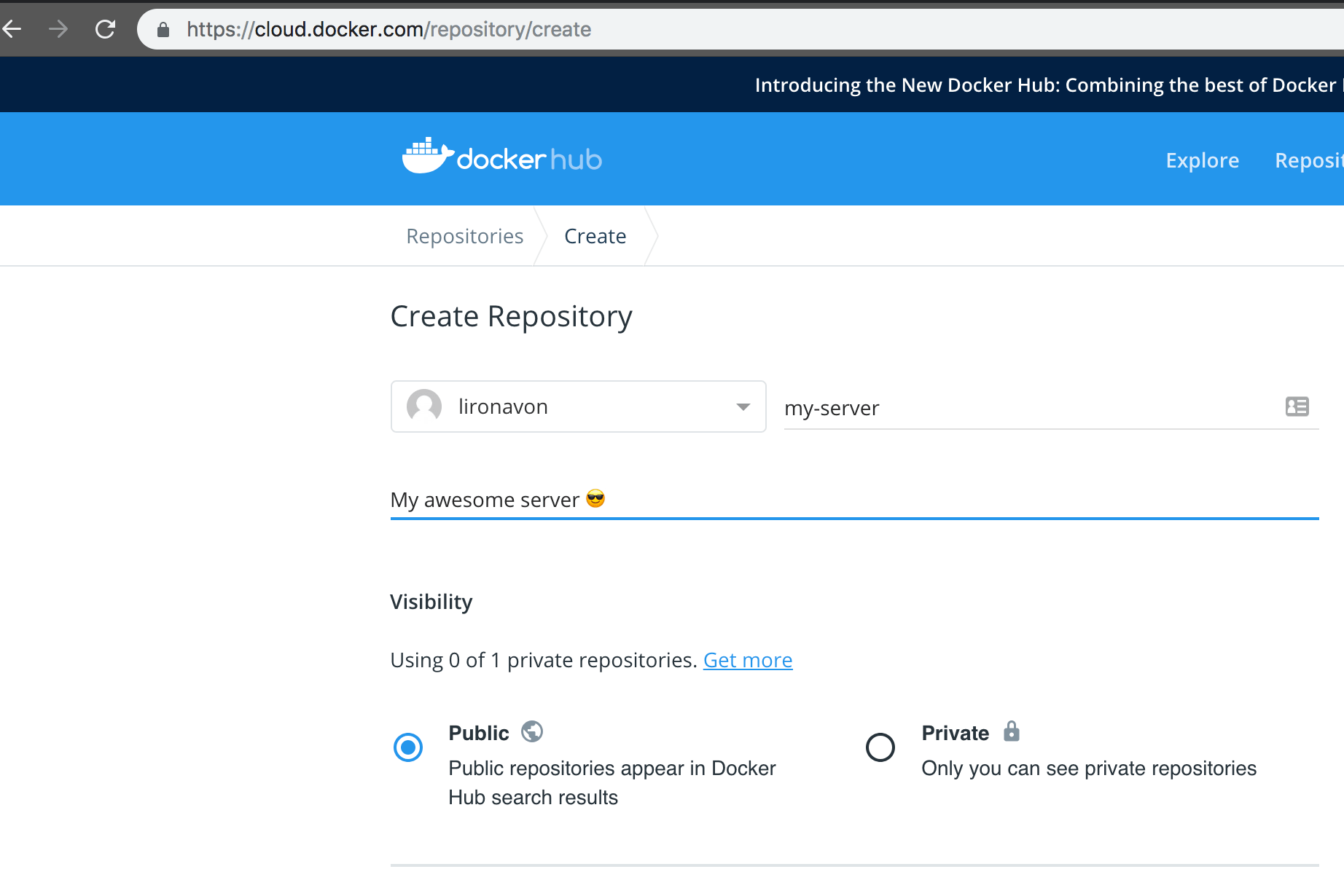 Creating Docker image on Docker Hub