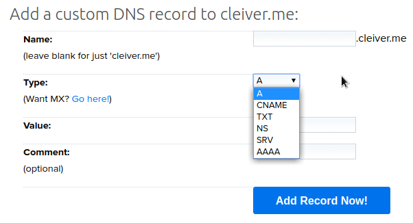 Add a custom DNS record