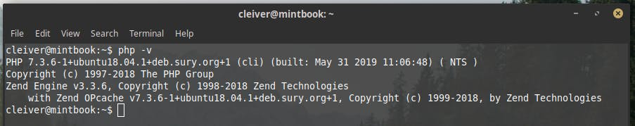 terminal with PHP 7.3 installed