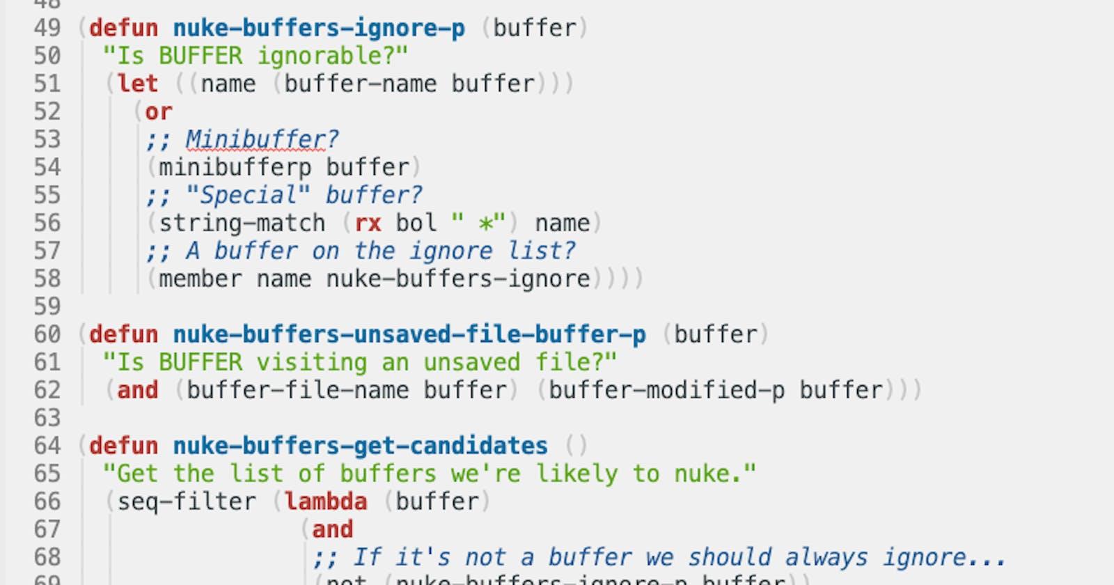 nuke-buffers.el -- Tidy up open buffers in Emacs