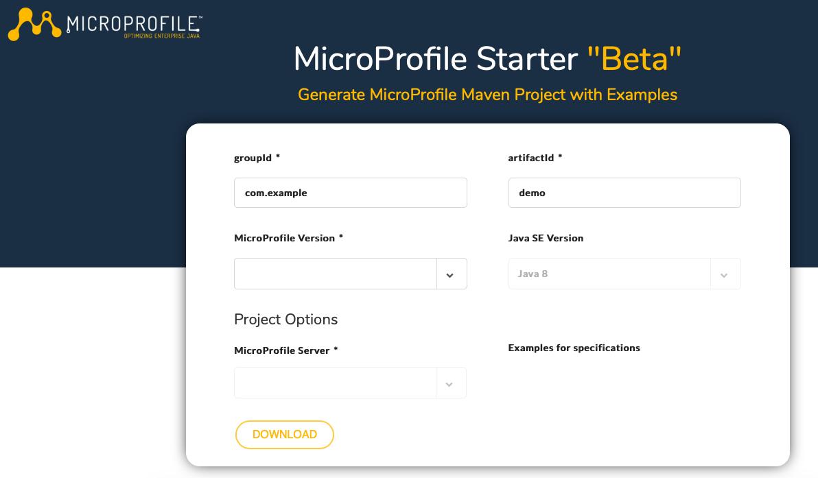 MicroProfile Starter
