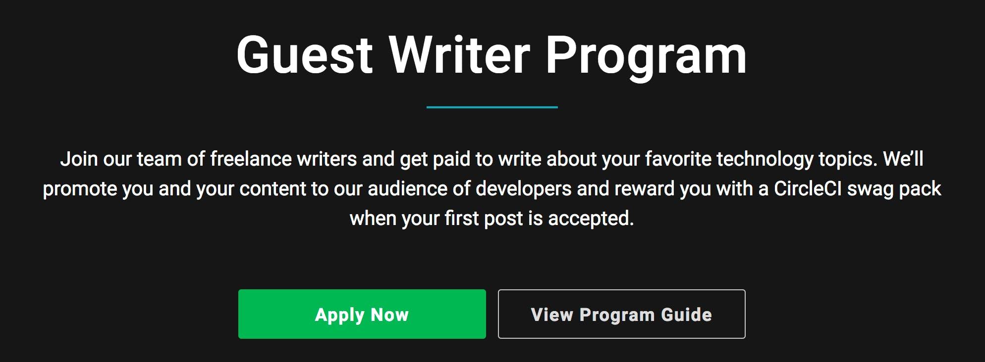 CircleCI Guest Writers program