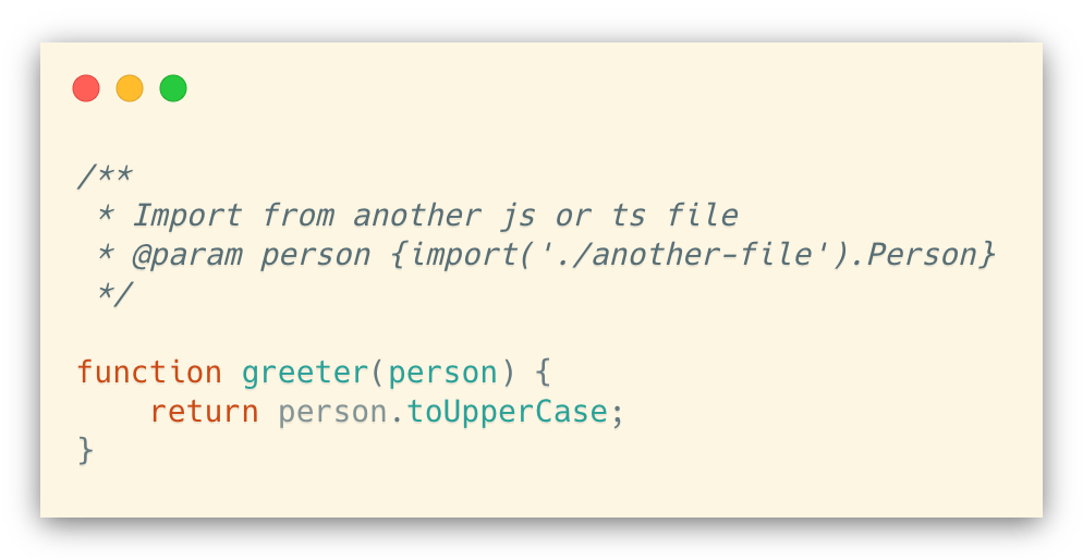 Importing types from a js/ts file (using annotation)
