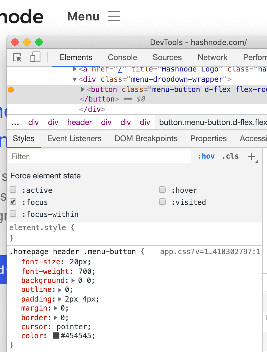 "Chrome devtools open with the Elements tab selecting the ""Menu"" button. The pseudostate panel has ""focus"" checked. The ""Menu"" button appears exactly as it does unfocused."