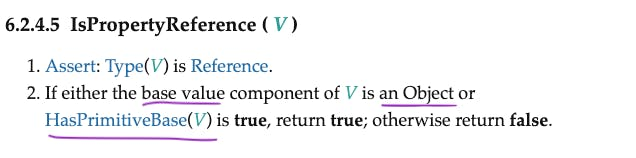 IsPropertyReference- reference where base is object or primitive