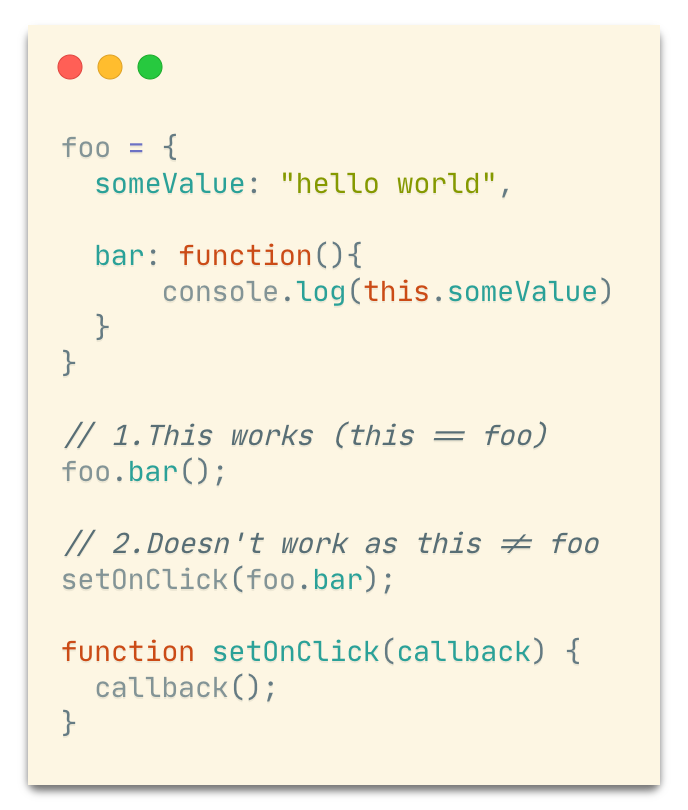 Code showing - method which is passed as callback loses reference to original obj as this, but calling foo.bar() directly works