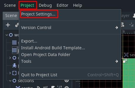 project settings menu entry
