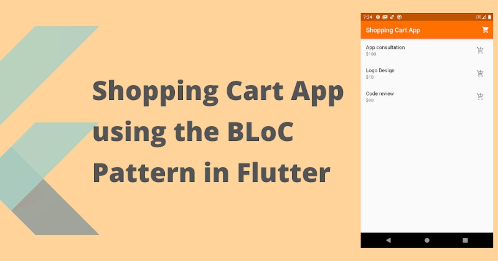 Shopping cart app using BLoC pattern in Flutter
