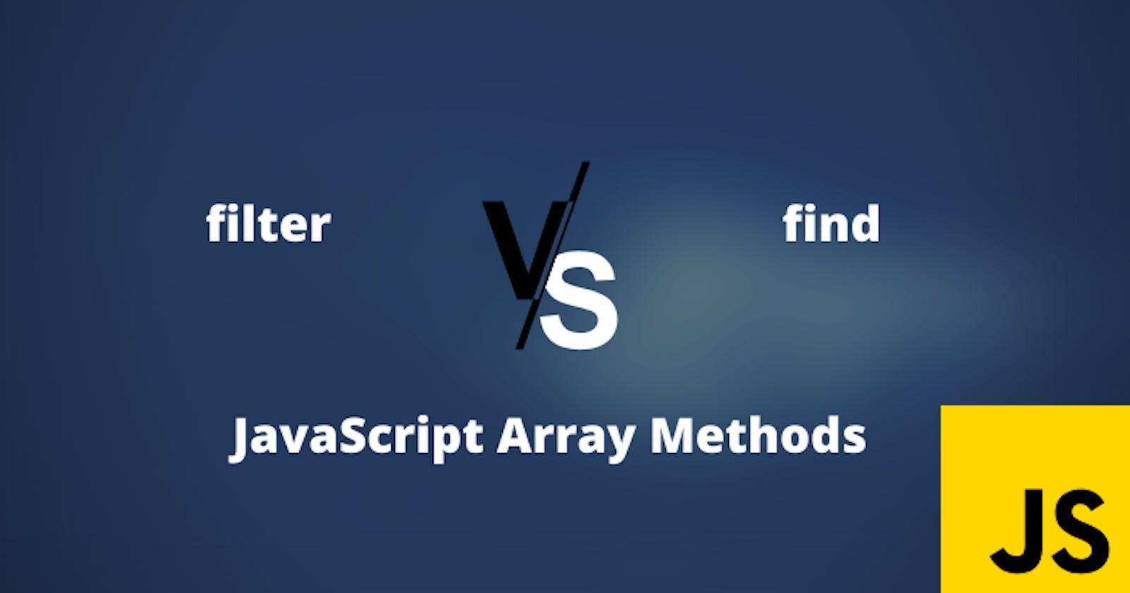 'filter' vs 'find': JavaScript array methods