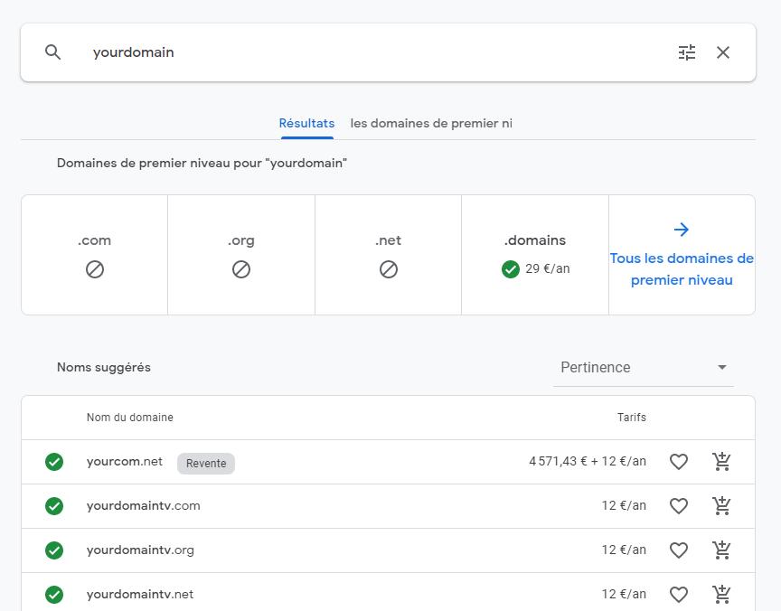 google domain screenshot