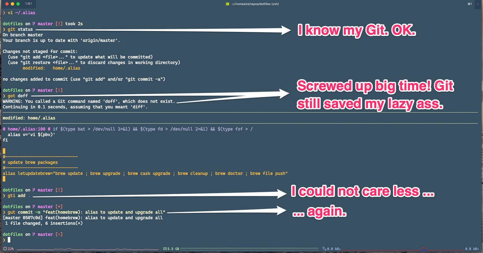My lazy (and smart?) encounter with aliases for Git