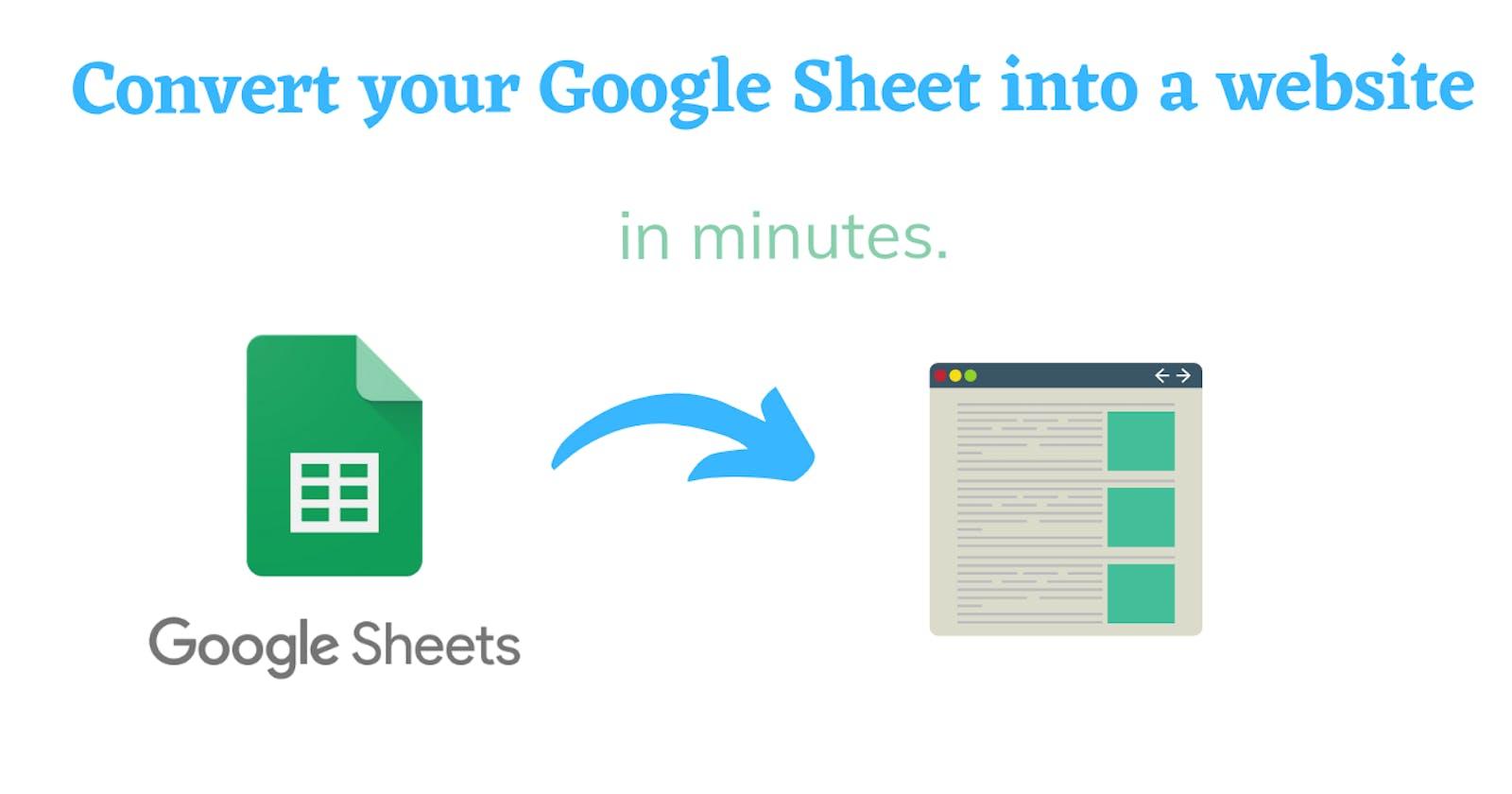 Convert your Google Sheet into a website