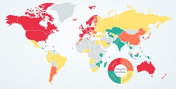 data Regulation map for continents
