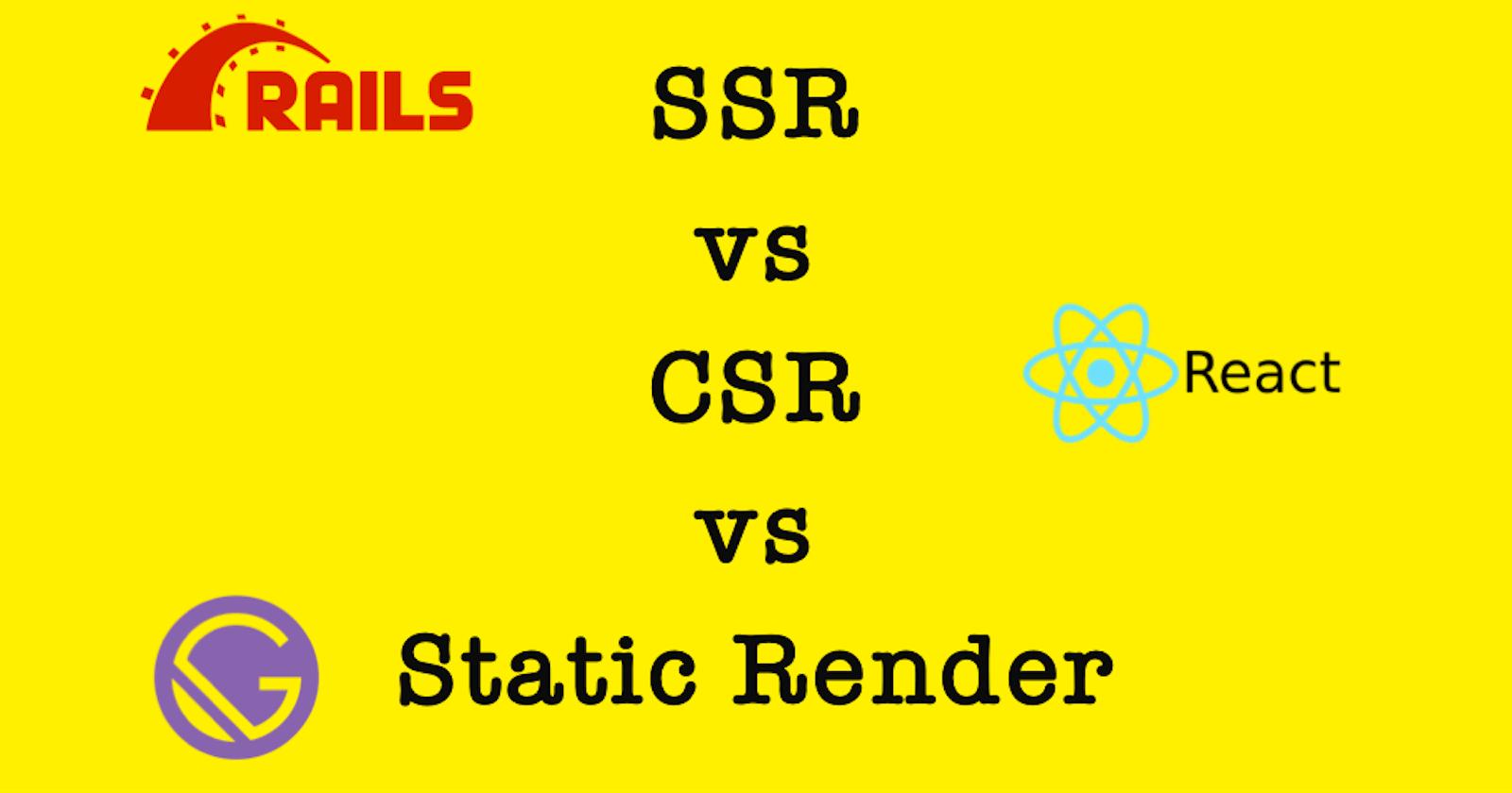 SSR vs CSR vs Static Render