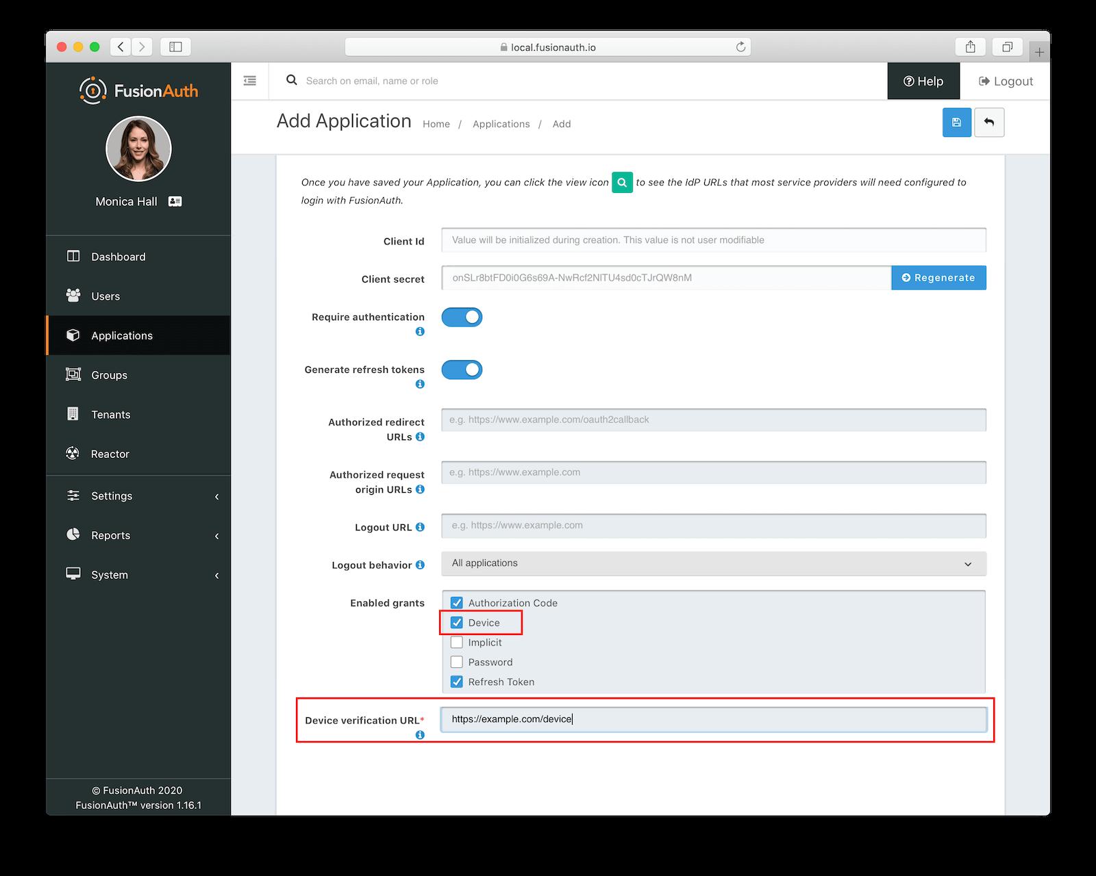 FusionAuth Create Application Example.