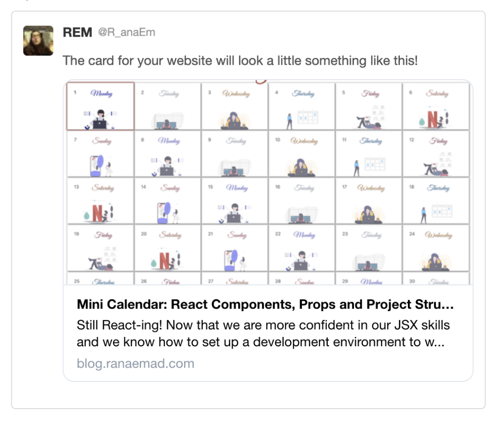twitter summary large card preview for https://blog.ranaemad.com/mini-calendar-react-components-props-and-project-structure-ckbtbax000000tas18gam6ufh