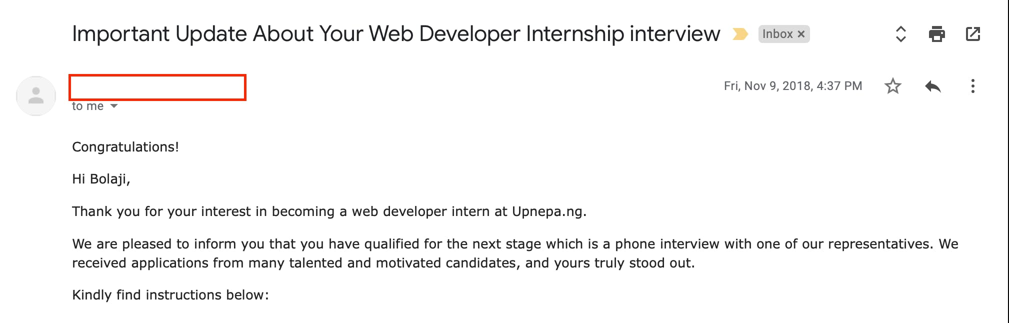 Interview update email