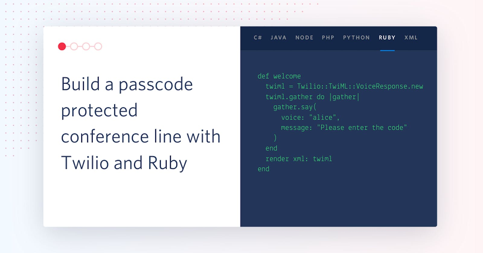 Build a passcode protected conference line with Twilio and Ruby