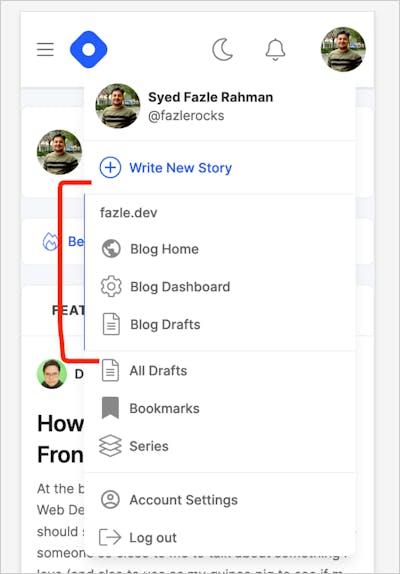 Hashnode Header on mobile