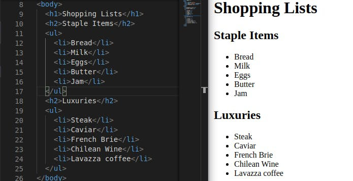 HTML for two unordered lists: staple items and luxury items