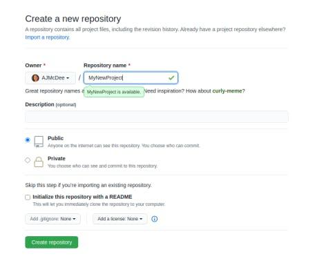 Screenshot of GitHub naming and creating the repository
