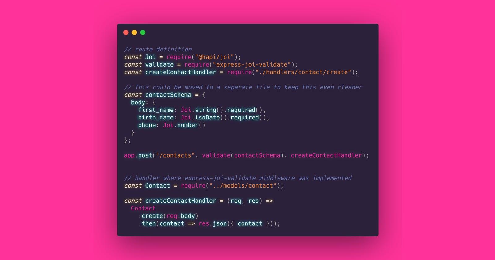 Express route param validation (Node.js)