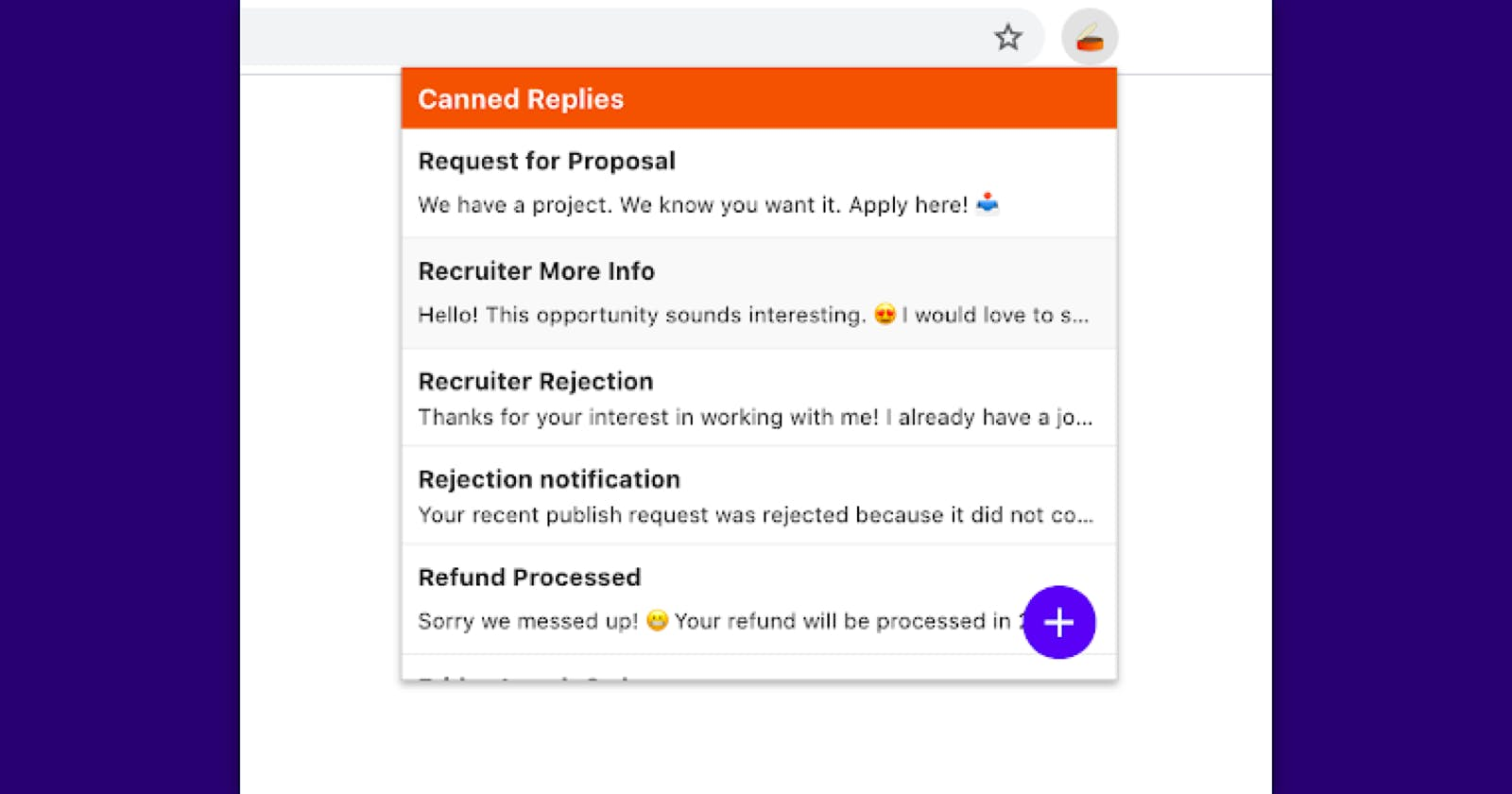 Canned Replies Chrome Extension for faster replies in Gmail