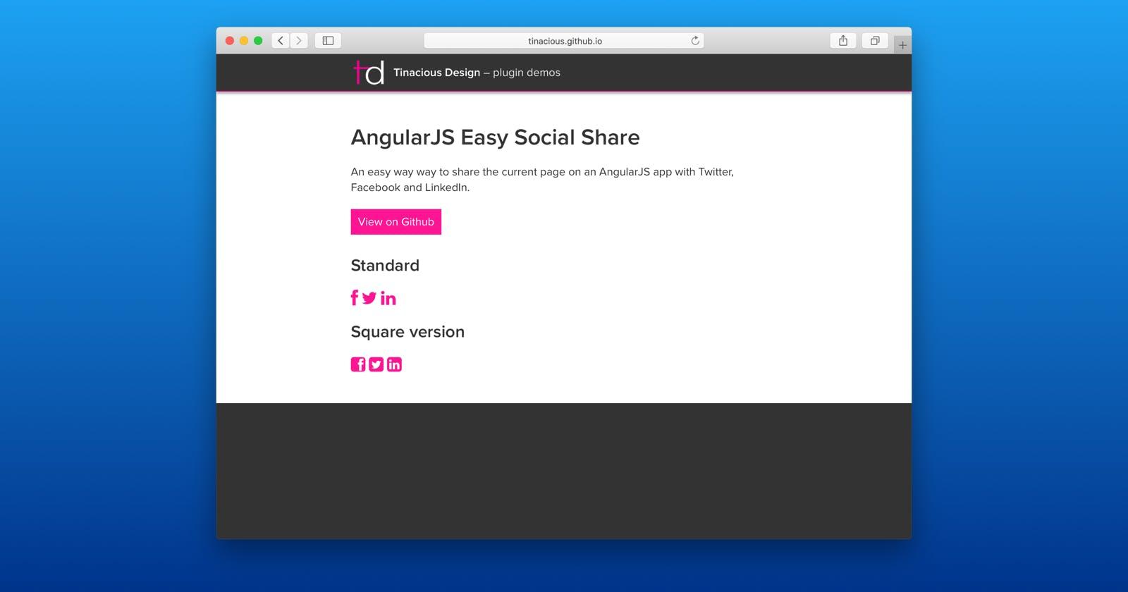 Social media sharing in AngularJS
