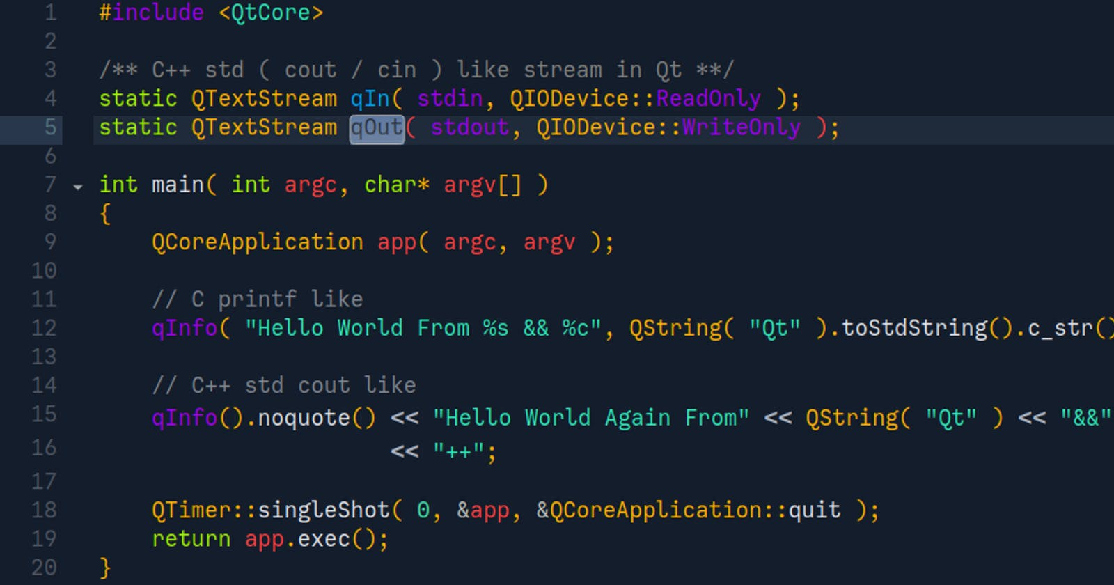 Hacky - QtCreator Syntax color theme