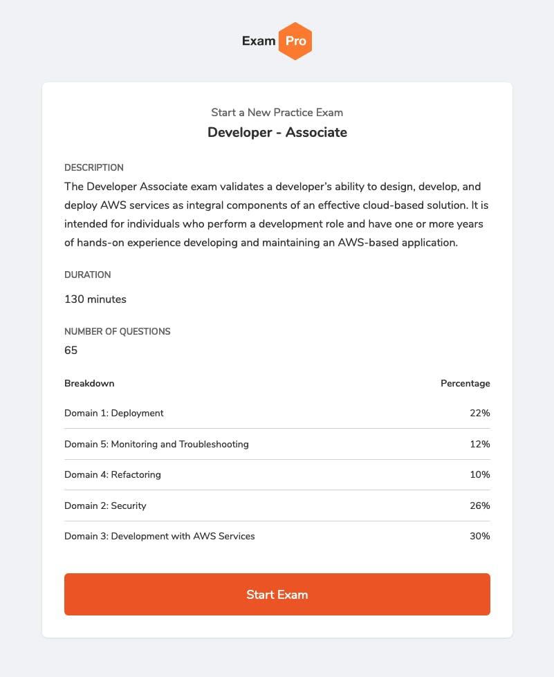 ExamPro Developer Associate Practice Exam