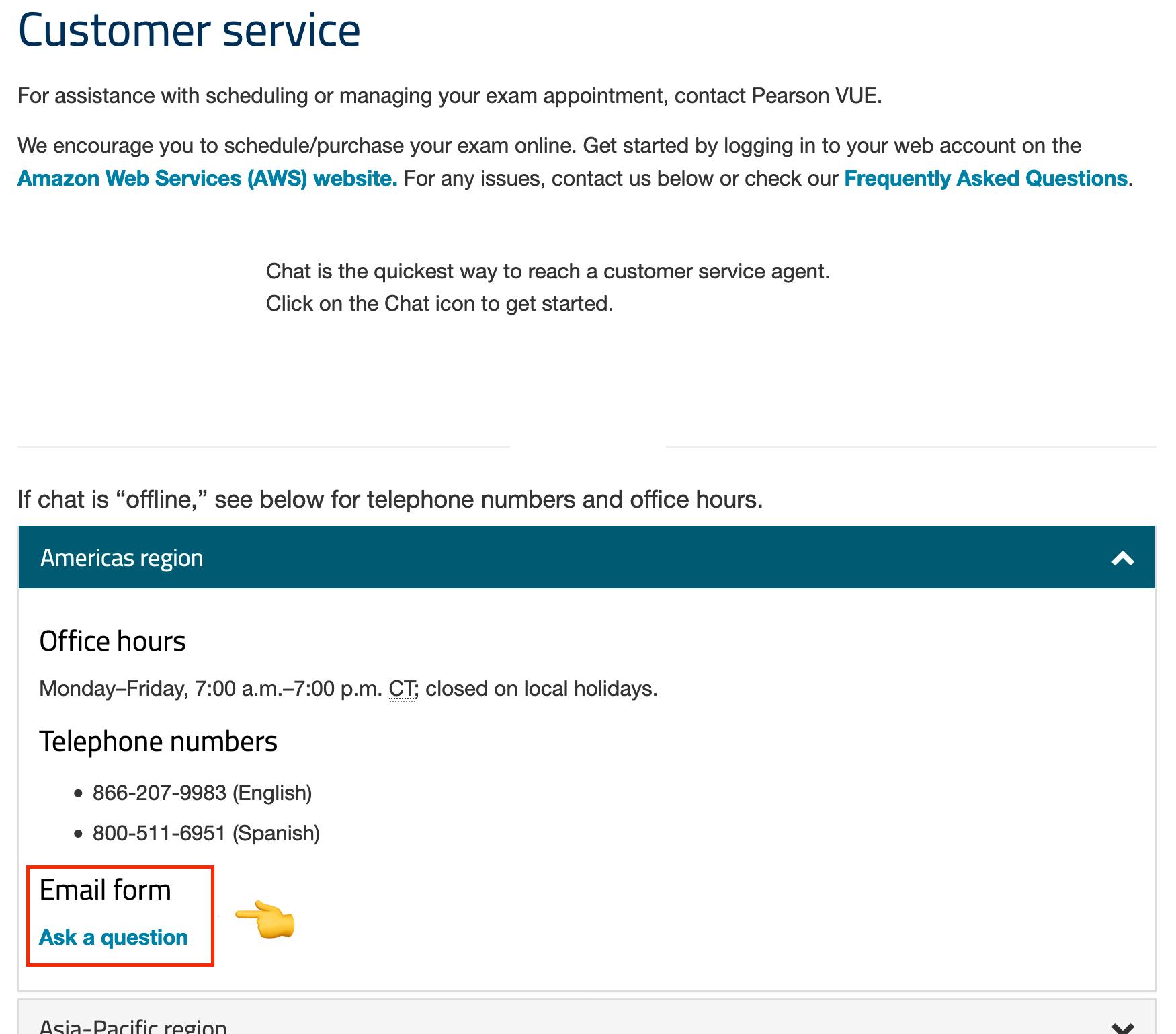 Pearson VUE customer service