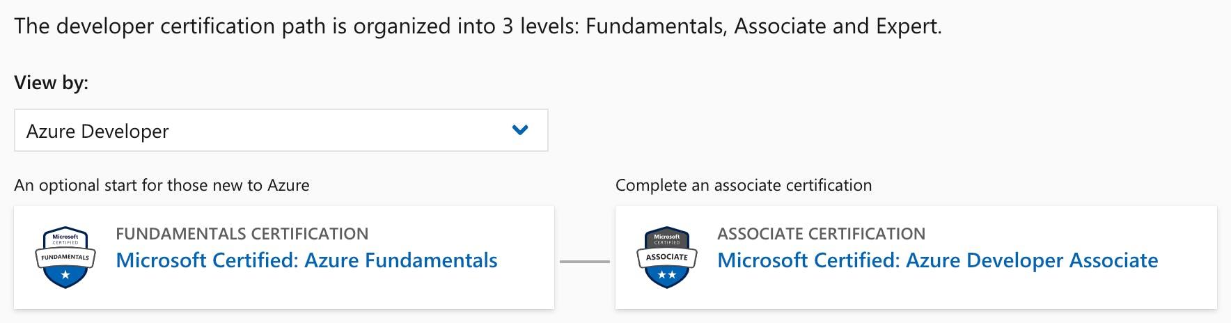 Developer certification path
