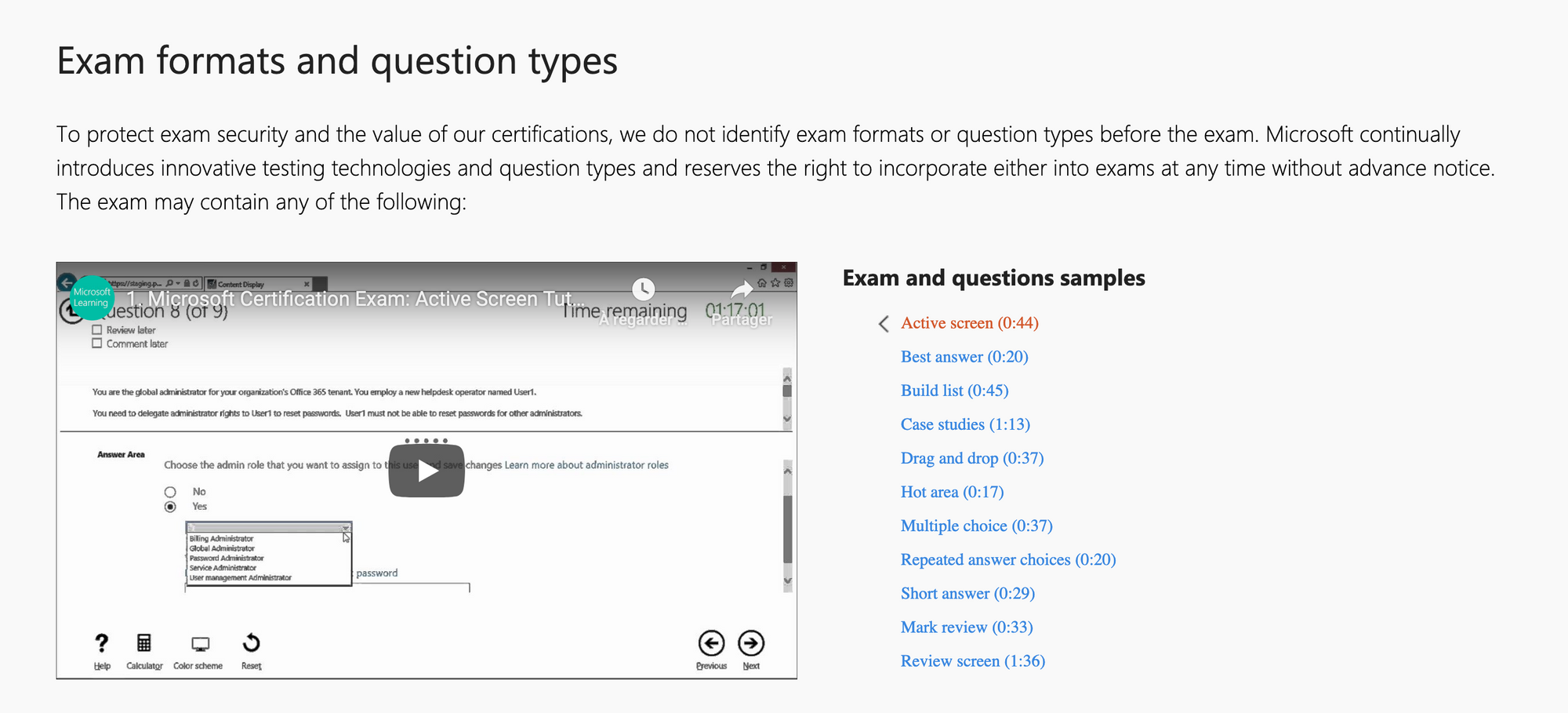 Exam formats and question types