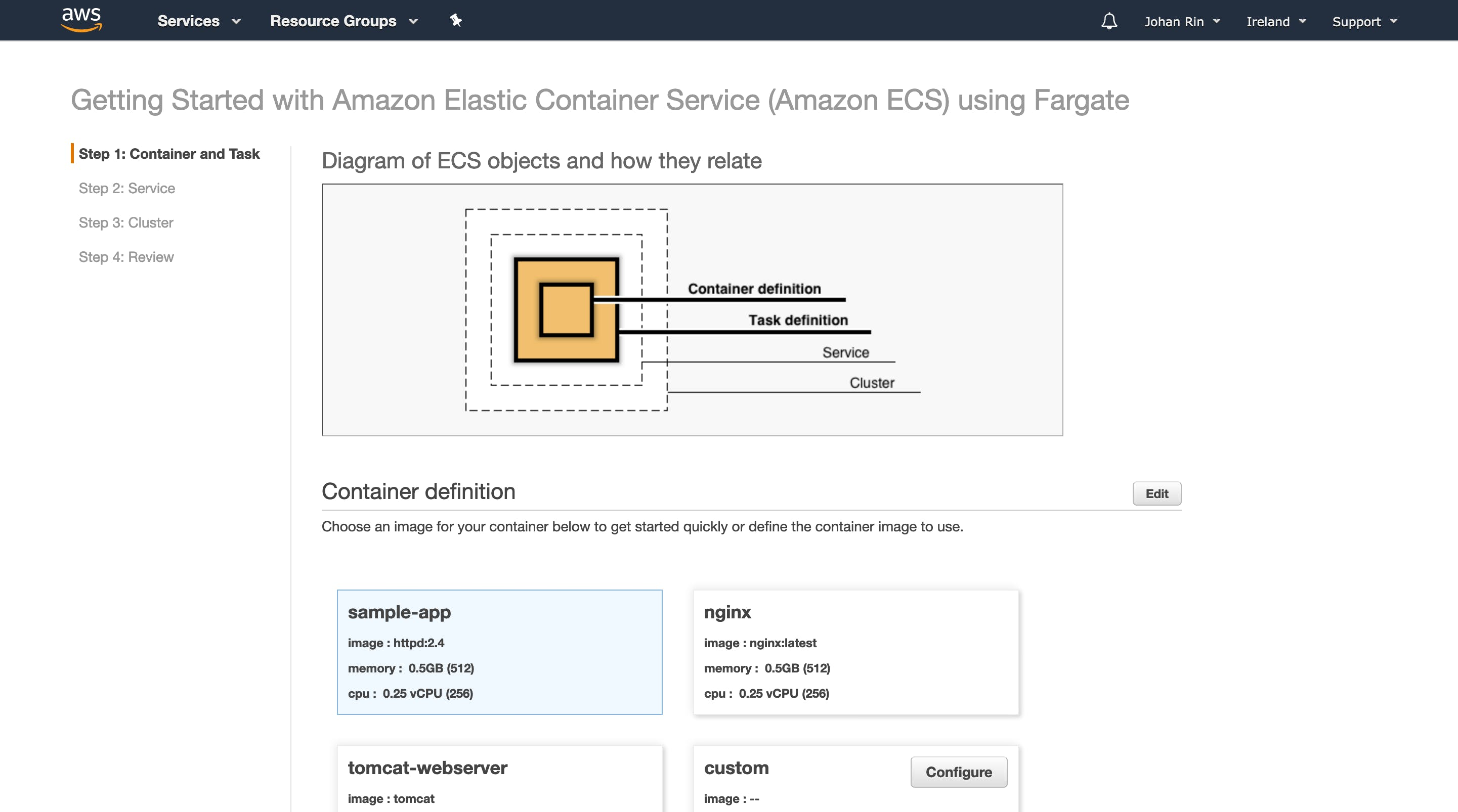 Open the Amazon ECS console first run wizard