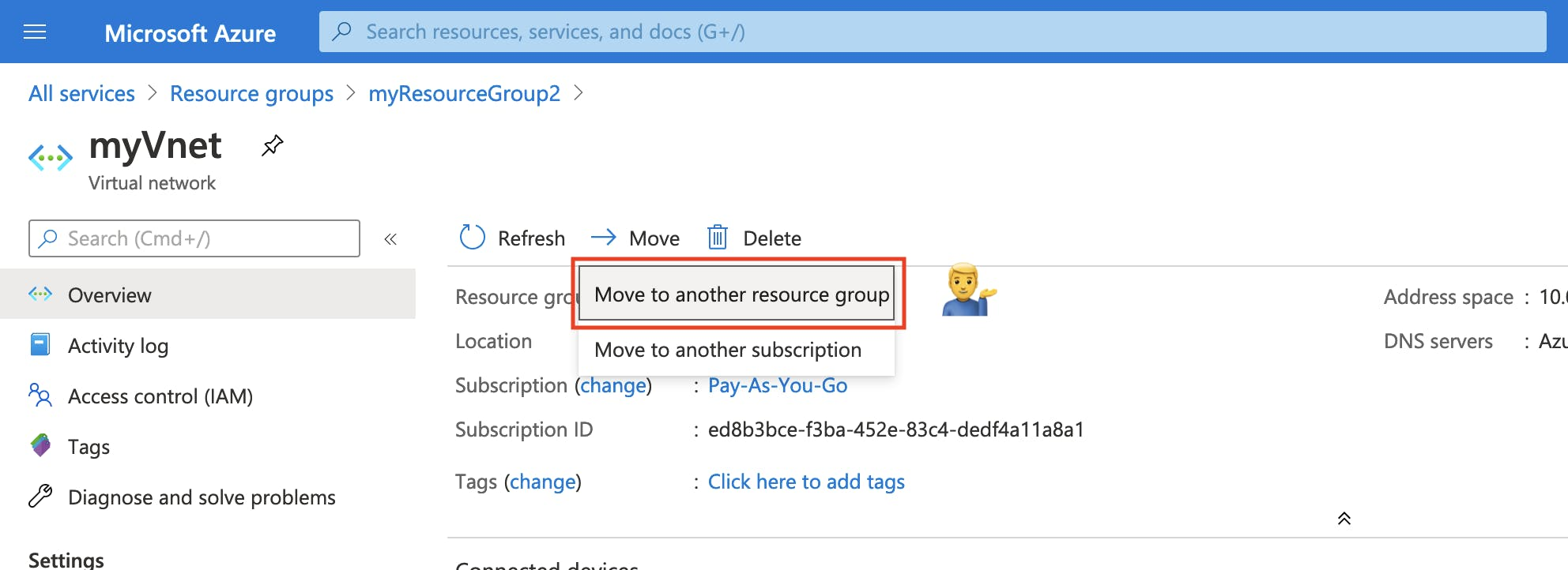Move resources to another resource group