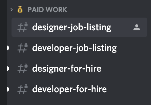 Devcord Discord channels for hiring and freelancing