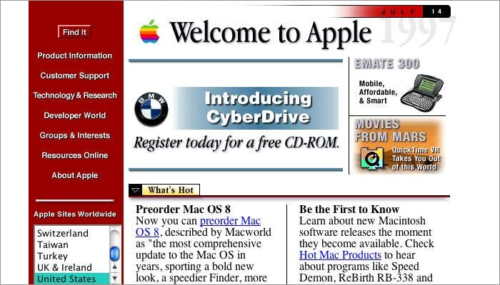 Screenshot of the Apple website from the 1990s