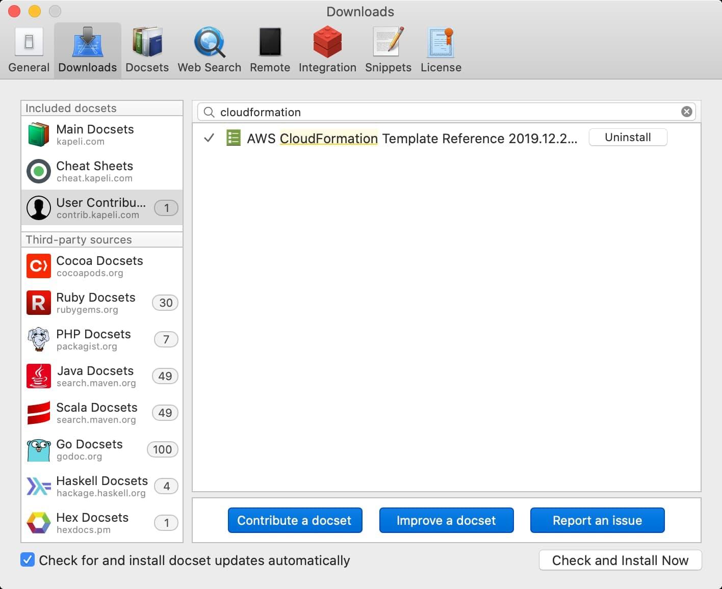 Dash CloudFormation docset