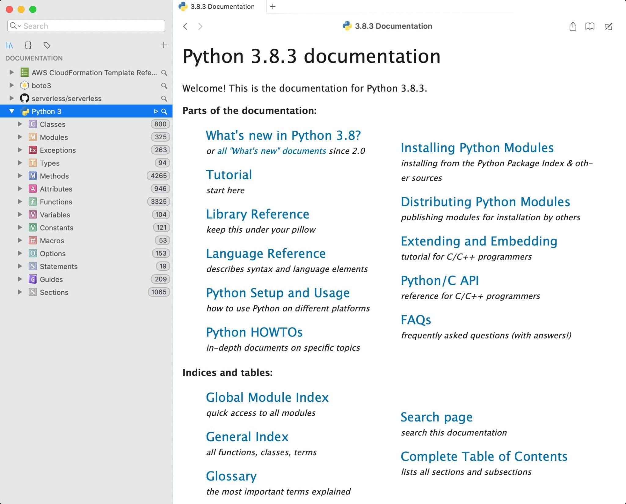 Dash Python docset