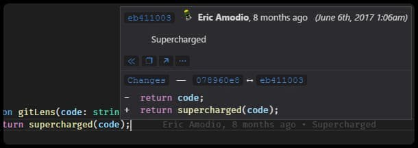 Git Lens VS Code extension details hover example