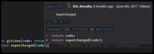 Git Lens VS Code extension details hover example