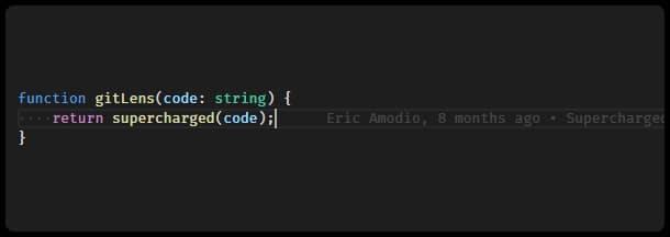 Git Lens VS Code extension git blame example