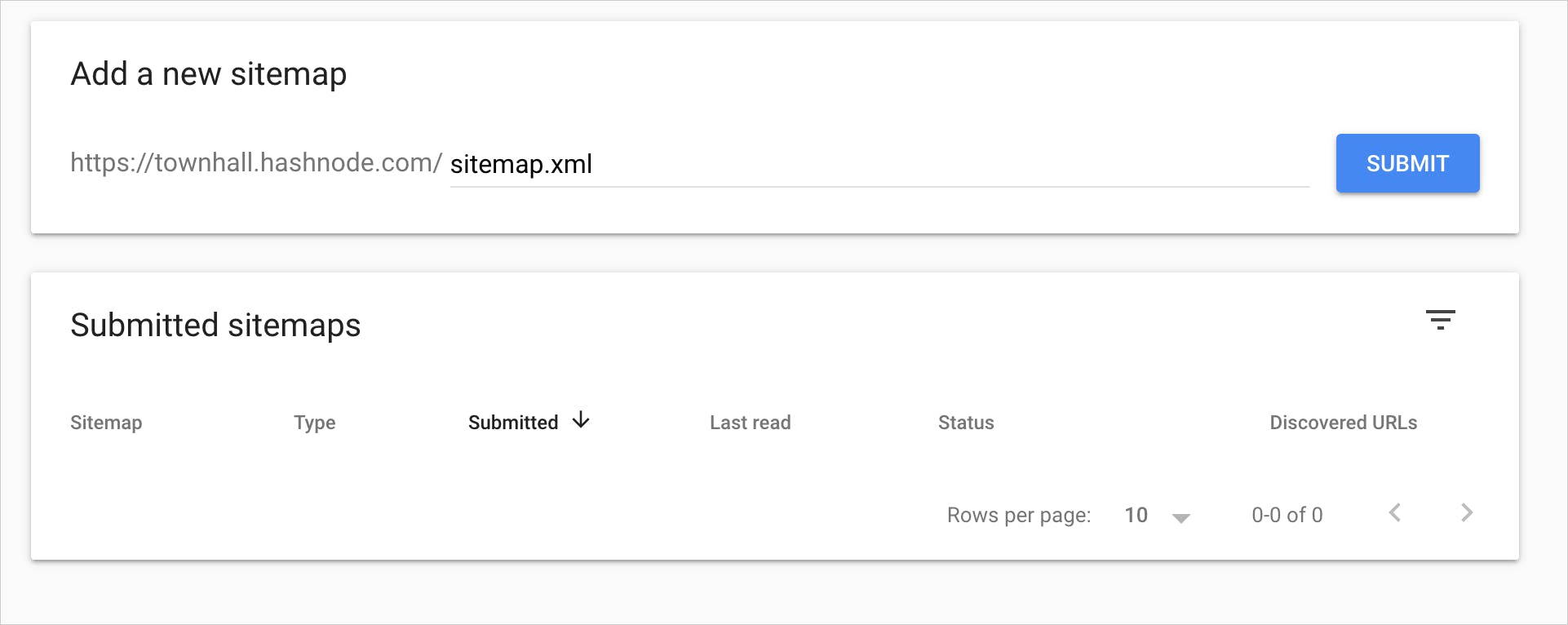 Sitemap on Google Search Console