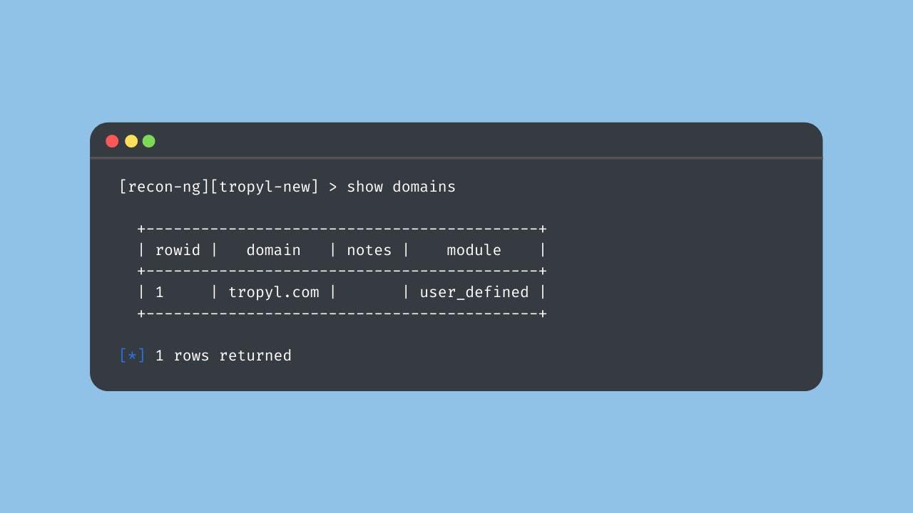 Recon-ng domains list