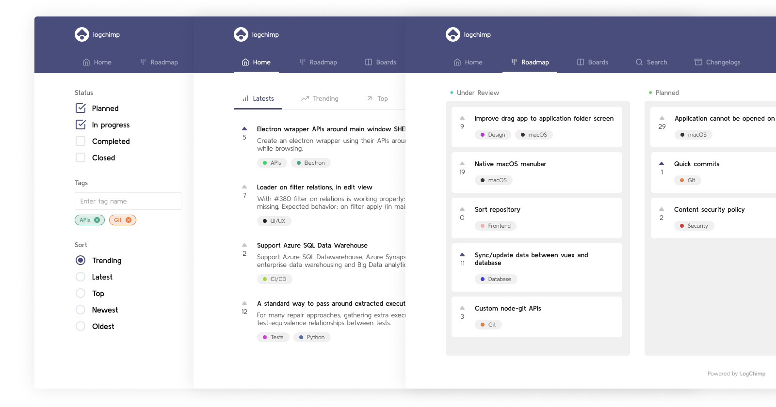 LogChimp product development roadmap