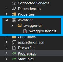 Folder structure and location of SwaggerDark.css